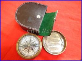 Solid Brass Pocket Compass w/ Leather Case Antique Robert Frost Poem Com... - $24.49