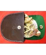 Brass Sundial Compass w/ Leather Case Pocket Sundial - F.L. West Nautica... - $24.49