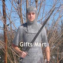 Kettenhemd LOTR + Haube mittelalterliche Rüstung Kostüm Chainmail Shirt ... - $97.01