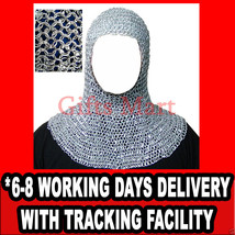 Riveted Aluminium Chain Mail Coif Medieval Chainmail Armor Chainmaille Hood - $48.02