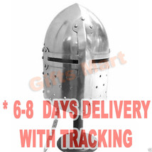 Medieval SugarLoaf Helmet  European Costume Armor Sugarloaf Helm Halloween Dress - $44.09