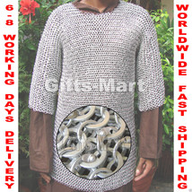 Aluminium Round Riveted with Flat Washer Chainmail Shirt M Size Chain ma... - $127.39