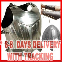 Breastplate Steel, Gothic Chestplate, +Free Arm Guards & Norman Nasal Helmet - $105.84