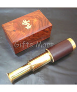 """Brass Telescope 6"""" Leather Bounded with Wooden Box Pocket Spyglass Colle... - $11.22"""