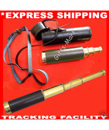 "15"" Brass Telescope w/ Leather Case Nautical Maritime Hendheld Pirate Sp... - $28.41"