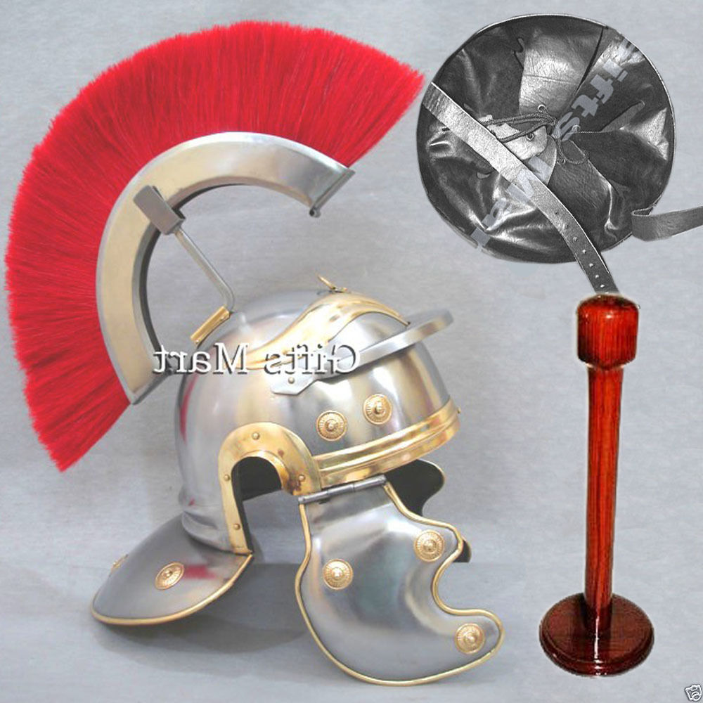 Roman Centurion Officer Helmet  with Red Plume Free Leather Liner & Wooden Stand