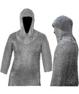 16 Gauge Chain Mail Armor Shirt and Coif Set Chainmail Butted Shirt & Co... - $148.96