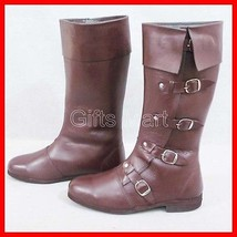 Medieval Boots Stylish Collectables Sca Fancy Leather Shoes Mens Long Bo... - $122.49