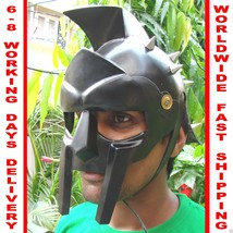 Black Roman Gladiator Maximus Helmet W/ Leather Liner Spartan Greek Costume - $82.31
