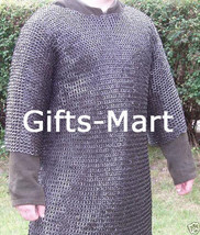 MS Chainmail Shirt Flat Rivet with Flat Washer Galvanised Chain Mail Hauberk L - $210.69