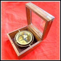SOLID BRASS GIMBLE WOODGLASS LID BOX COMPASS Nautical Boxed Gimbled Compass - $44.09