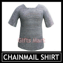 Round Riveted Chainmail Shirt  Medieval Armor Blackend Chain mail Shirt Hauberk - $194.04