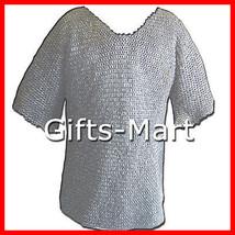 FLAT RIVETED Chain Mail Shirt,  chainmail Hauberk Medieval Armor Chainma... - $195.99
