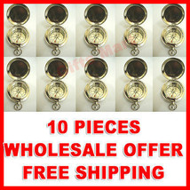 SET OF 10 CHROME PLATED POCKET COMPASS w/COVER Hiking Scout Collectible , - $93.09
