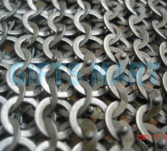 Medieval Chainmail Armor 8mm MS Flat Riveted w/ Washer Chain Mail Shirt  XL - $405.72
