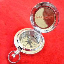 CHROME PLATED POCKET COMPASS w/COVER - Hiking Scout, Collectible Nautica... - $19.59