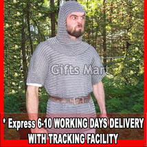 10 mm Chainmail Shirt Coif Set Large Size Medieval Armor Chain Mail Hauberk - $107.80