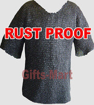 Medieval Stainless Steel Chainmail Shirt FLAT RIVETED Chain mail Hauberk XL - $470.39