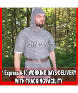 XXL Chain Mail SHIRT +FREE COIF 9mm16g Medieval chainmail armor Huaberk ... - $195.99