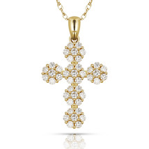 0.55CTW Brilliant Round Cut Cross Pendant Solid 14K Yellow Gold Charm Wi... - $126.59+