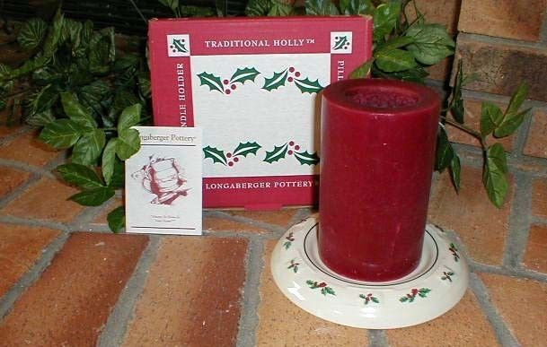 Longaberger Pillar Candle Holder Cheese Plate Ttaditions Holly Pottery New USA