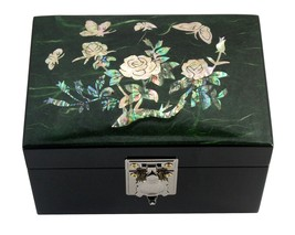 Lacquer inlaid mother of pearl wood  trinket jewelry jewel box green rose - $36.41