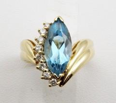 3.10ct Swiss Blue Topaz w/Diamond Cocktail/Dinner Ring,size5.5 - £613.14 GBP