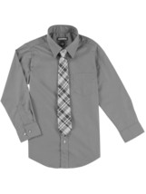 George Packaged Boys Kids Toddler Grey Dress Shirt And Tie Set Size SMALL 6-7