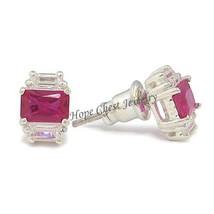 Sterling Silver Little Ruby Red Cubic Zirconia Stud Earrings - $19.49