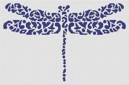 Tribal Dragonfly monochrome cross stitch chart White Willow stitching - $7.65