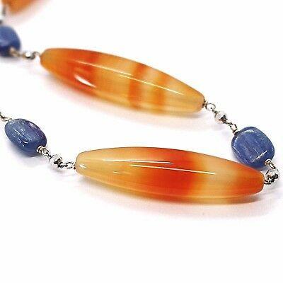 Collier en Argent 925, Agate Orange,Cyanite Bleu, Ras-Du-Cou 44 cm, Chaîne Rolo