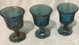 Indiana Harvest Grape Iridescent Blue Carnival Glass Set of 3 Goblets Gl... - $35.53
