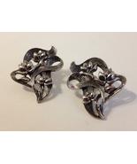 Floral Bouquet Silver Tone Metal Earrings Ribbon Filigree Flowers Pierce... - $32.00