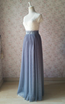 Gray Tulle Skirt Outfit High Waisted Long Gray Tulle Skirt Bridesmaid Skirt image 4