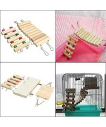 Hanging Ladder Hamster Parrot Bird Cage Bridge Toys Swing Wooden Mouse R... - $9.99