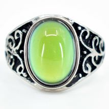 Vintage Inspired Style Silver & Black Painted Color Changing Cabochon Mood Ring image 5