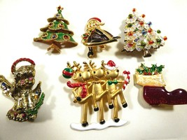 Lot of 6 Christmas Winter Holiday Season Pin Brooch Deer Angel Tree Crystal - $64.35