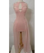 UNIF Pink Cage Bondage Bias Cut Mini Dress W/Asy Long Sheer Silk Skirt M - $152.99
