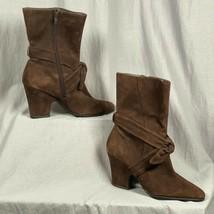 "Aerosoles Suede 3.5"" Heel Women's Size 9 Boots Shoes Tie Detail Side Zipper - $61.39"