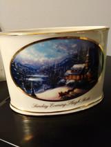 """2004  Thomas Kinkade """"Sunday Evening Sleigh Ride"""" Votive Tea Light Candle Holder image 1"""