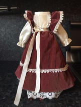 Burgundy Antique Dress Velvet Lace for Bisque Doll - $23.99