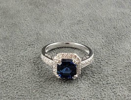 Sterling Silver CZ Syn Sapphire Solitaire Ring Size 8 Outstanding - $77.50