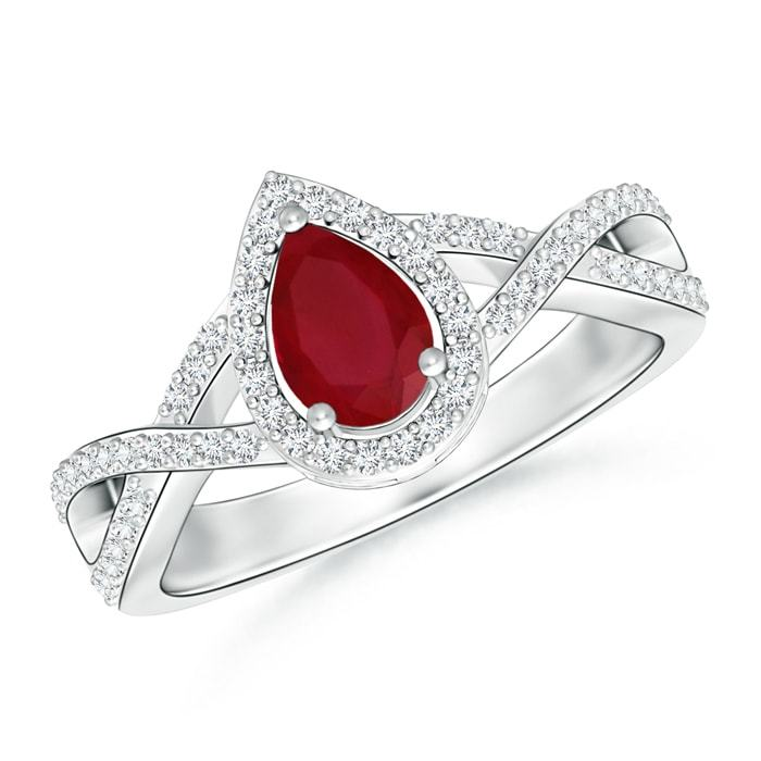 Pear Shape Natural Ruby Diamond Engagement Ring in 14k Gold/Platinum Size 3-13