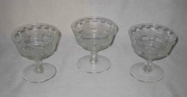 """Neat Vintage Lot Of 3 Etched 4"""" Clear Glass Footed Sherbets - $27.89"""