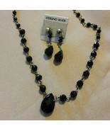 Prom! Black faceted Murano glass Necklace and Earring set - $12.34