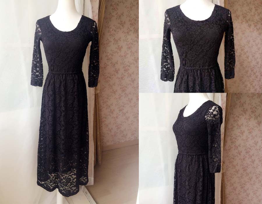 Black Crop Sleeve Stretch Long Lace dress BLACK Plus Size Lace Formal Dress NWT