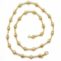 18K YELLOW GOLD CHAIN FINELY WORKED 5 MM BALL SPHERES AND TUBE LINK, 17.7 INCHES image 2