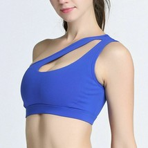 Women One Shoulder Bra Solid Sports Fitness Yoga Gym Padded Athletic Und... - $15.80+