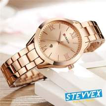 Women's Curren Waterproof Elegant Classic Watch With Roman Numbers And Display - $49.99
