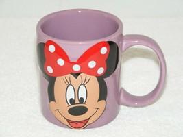 DISNEY MINI MOUSE RAISED 3-D IMAGE PURPLE COFFEE MUG BY JERRY LEIGH EUC - £12.48 GBP